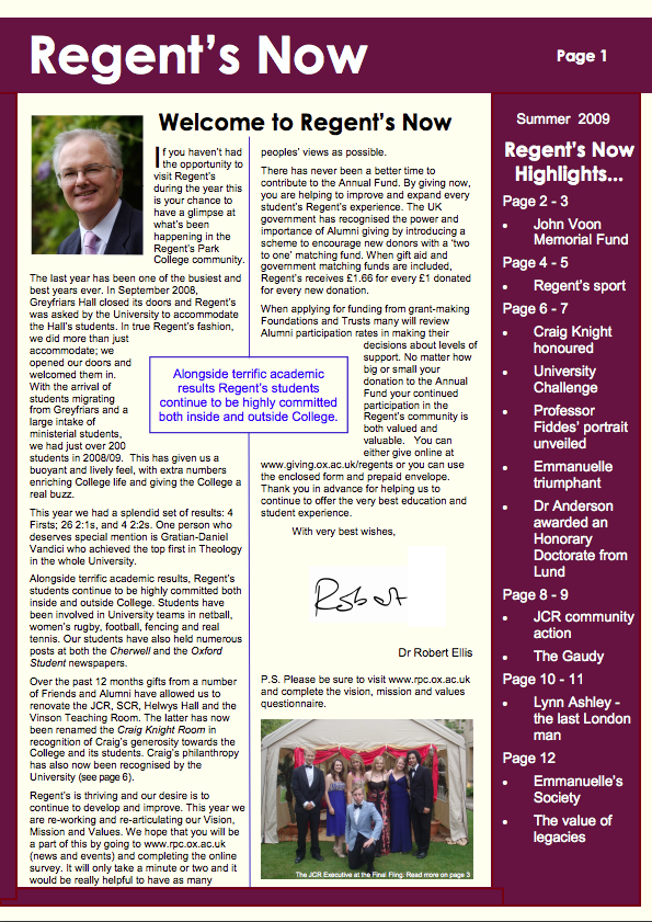 Regents Now Cover 2009